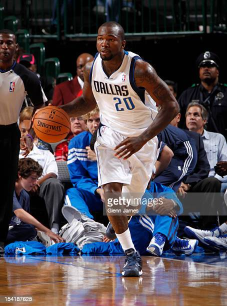 Dominique Jones of the Dallas Mavericks handles the ball against the Houston Rockets on October 15 2012 at the American Airlines Center in Dallas...