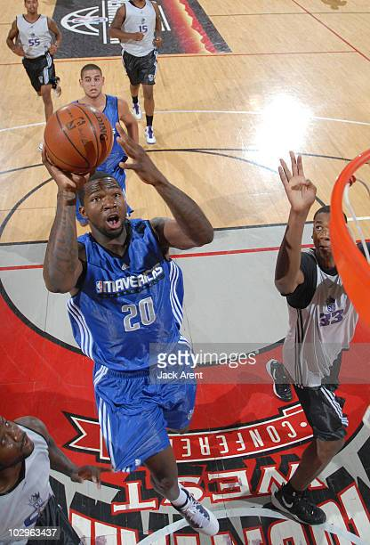 Dominique Jones of the Dallas Mavericks shoots the ball against the Sacramento Kings during the NBA Summer League on July 18 2010 at Cox Pavilion in...
