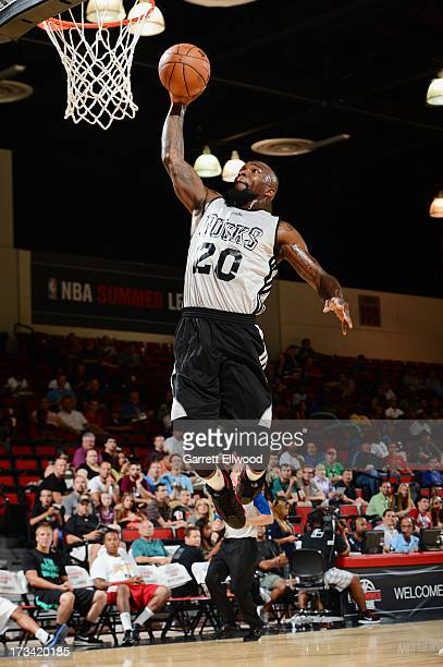 Dominique Jones of the Milwaukee Bucks dunks against the Denver Nuggets during NBA Summer League on July 13 2013 at the Cox Pavilion in Las Vegas...