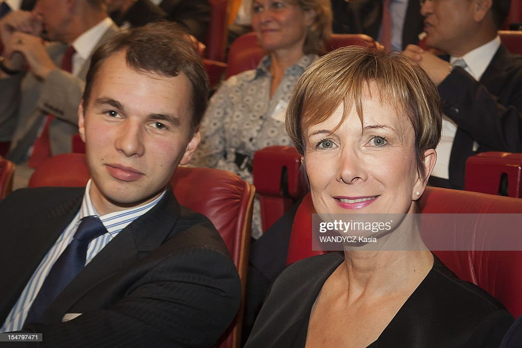 Dominique Loiseau and son Bastien Loiseau attend the LCI TV's talk show broadcast live on the website TF1 NEWS which airs Director of IMF Christine Lagarde on October 16, 2012 in Boulogne Sur Seine, France.