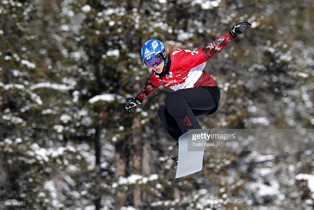<a gi-track='captionPersonalityLinkClicked' href=/galleries/search?phrase=Dominique+Maltais&family=editorial&specificpeople=722237 ng-click='$event.stopPropagation()'>Dominique Maltais</a> of Canada flies through the air during the finals at the FIS Snowboard Cross World Cup December 21, 2013 in Lake Louise, Alberta, Canada.