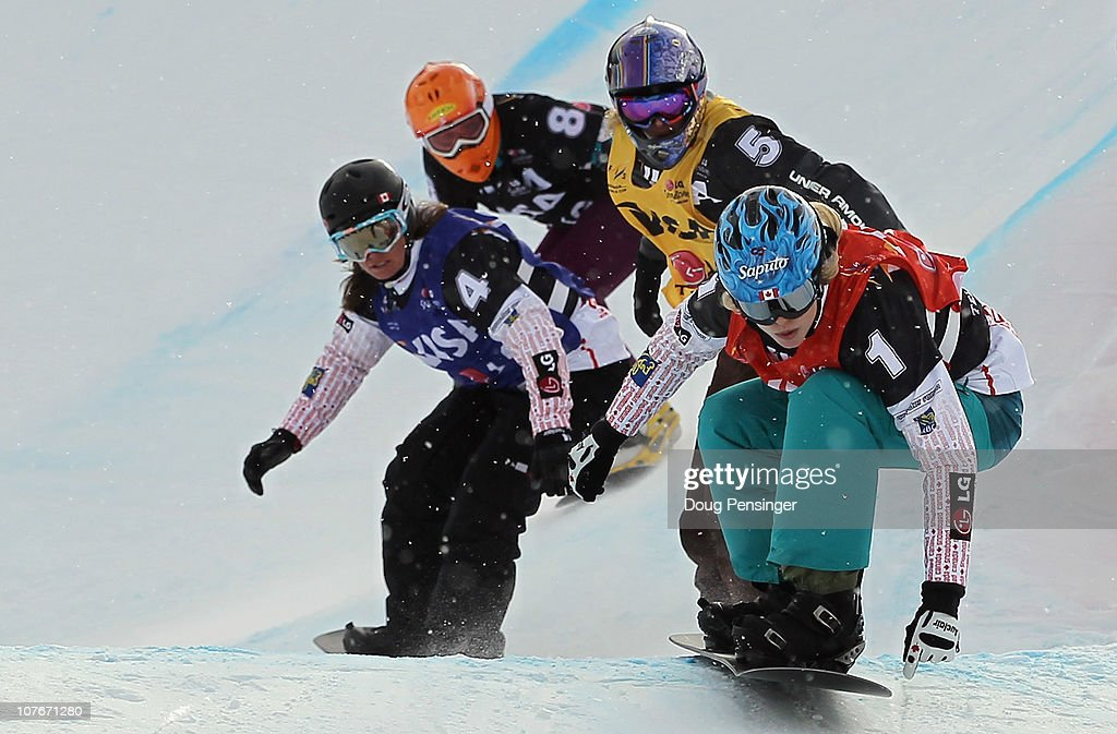 <a gi-track='captionPersonalityLinkClicked' href=/galleries/search?phrase=Dominique+Maltais&family=editorial&specificpeople=722237 ng-click='$event.stopPropagation()'>Dominique Maltais</a> #1 of Canada takes the lead against <a gi-track='captionPersonalityLinkClicked' href=/galleries/search?phrase=Lindsey+Jacobellis&family=editorial&specificpeople=217703 ng-click='$event.stopPropagation()'>Lindsey Jacobellis</a> #5 of the USA, Maelle Ricker #4 of Canada and Susanne Moll #8 of Austria in their semi final heat in the Women's Snowboard Cross at the LG Snowboard FIS World Cup on December 17, 2010 in Telluride, Colorado. Maltais went on to win while Ricker finished third and Jacobellis in fifth.