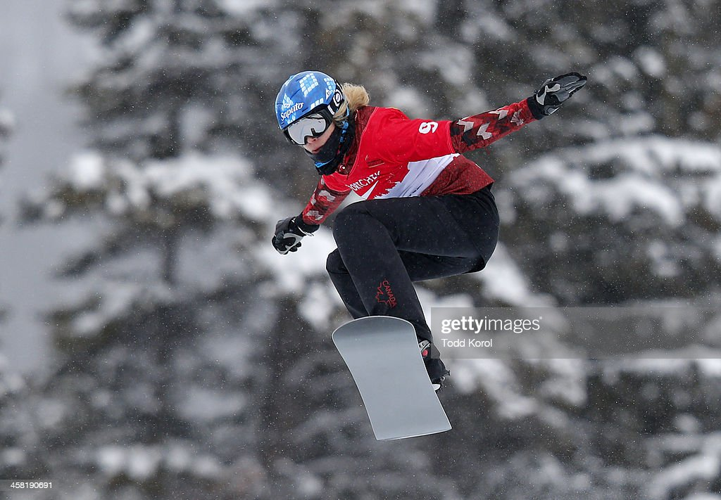 <a gi-track='captionPersonalityLinkClicked' href=/galleries/search?phrase=Dominique+Maltais&family=editorial&specificpeople=722237 ng-click='$event.stopPropagation()'>Dominique Maltais</a> of Canada takes to the air during the women's qualification run at the FIS Snowboard Cross World Cup December 20, 2013 in Lake Louise, Alberta, Canada.