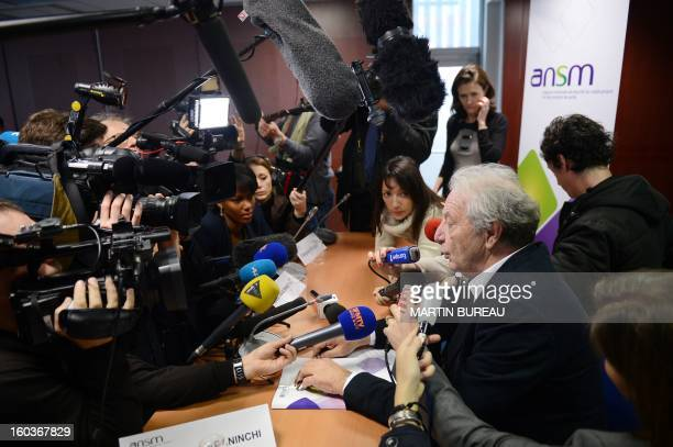 Dominique Maraninchi head of France's regulator the National Agency for the Safety of Drugs and Health Products speaks during a press conference on...