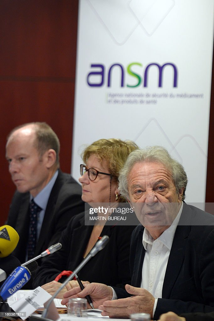 Dominique Maraninchi (R), head of France's regulator the National Agency for the Safety of Drugs and Health Products (ANSM) speaks next to Ansm staff members, Francois Hebert (L) and Pascale Maisonneuve, during a press conference on acne pill Diane 35, on January 30, 2013 in Paris. In the latest health scare to erupt in France, a drug watchdog on Wednesday announced it was suspending sales of an acne pill also used as a contraceptive after four women died and more than 100 others fell ill with blood clots. The National Agency for the Safety of Drugs and Health Products (ANSM) said it was suspending sales of a hormonal treatment called Diane-35, which is prescribed to 315,000 women in France. the product, made by the German firm Bayer, is authorised for treating acne in young women, but doctors have been prescribing it as a contraceptive because it stops ovulation, he said.
