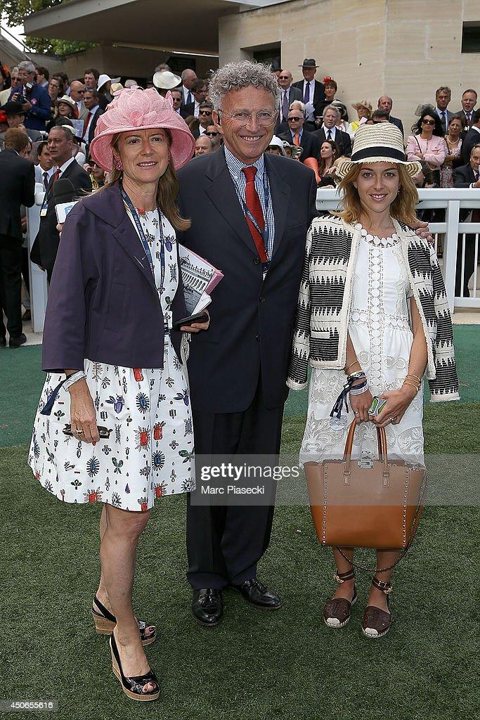 Dominique Monfort, Nelson Monfort and daughter Victoria attend the 'Prix de Diane Longines 2014' at Hippodrome de Chantilly on June 15, 2014 in Chantilly, France.