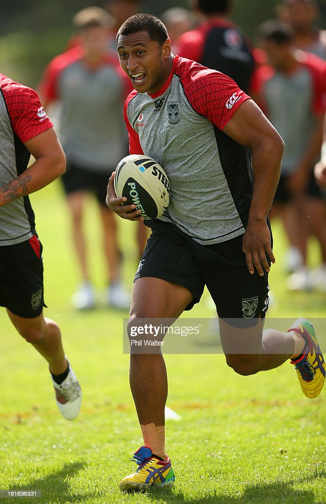 Dominique Peyroux of the Warriors runs into a tackle bag during a New Zealand Warriors NRL training session at Mt Smart Stadium on February 14, 2013 in Auckland, New Zealand.