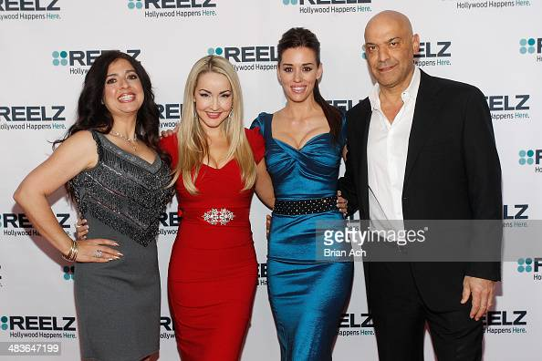 Dominique Pinassi Aria Johnson Cory Oliver and Yossi Dina of Beverly Hills Pawn attend the REELZ Channel upfront presentation at Hudson Hotel on...