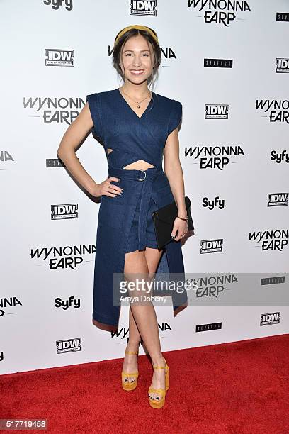 Dominique ProvostChalkley attends the premiere of Syfy's 'Wynonna Earp' at WonderCon 2016 at Regal LA Live Stadium 14 on March 26 2016 in Los Angeles...