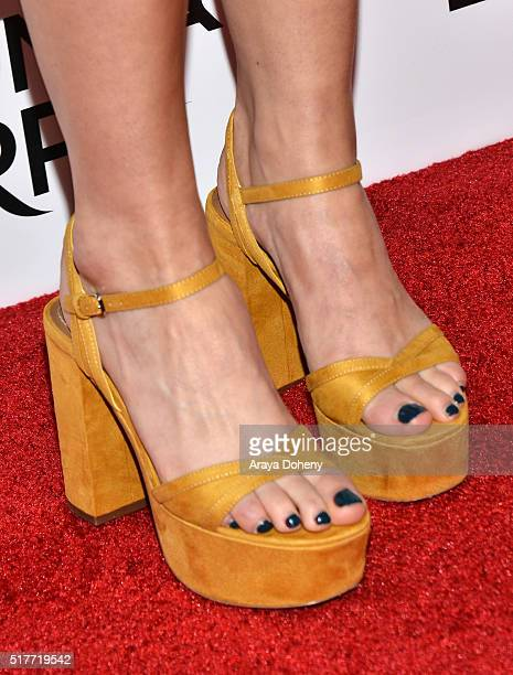 Dominique ProvostChalkley shoe detail attends the premiere of Syfy's 'Wynonna Earp' at WonderCon 2016 at Regal LA Live Stadium 14 on March 26 2016 in...