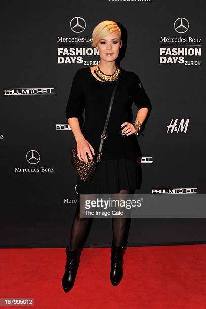 Dominique Rinderknecht attends the MercedesBenz Fashion Days Zurich 2013 on November 14 2013 in Zurich Switzerland