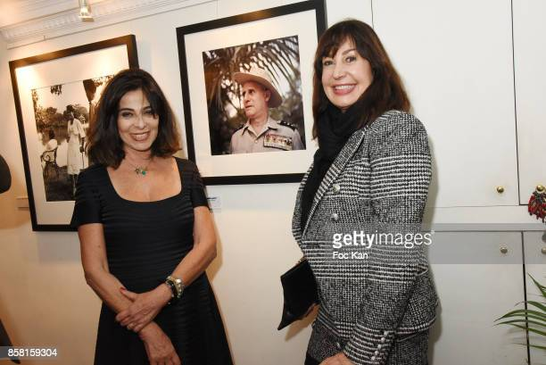 Dominique Rizzo wife of Willy Rizzo and Carmen Martinez Bordiu attend 'La Guerre D'Indochine' By Willy Rizzo Press Preview at Studio Willy Rizzo In...