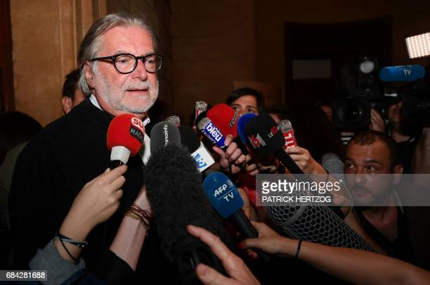 Dominique Rondu lawyer of Ginette Beckrich grandmother of victim Alexandre Beckrich speaks to journalists on May 17 2017 at the Assize Court of...