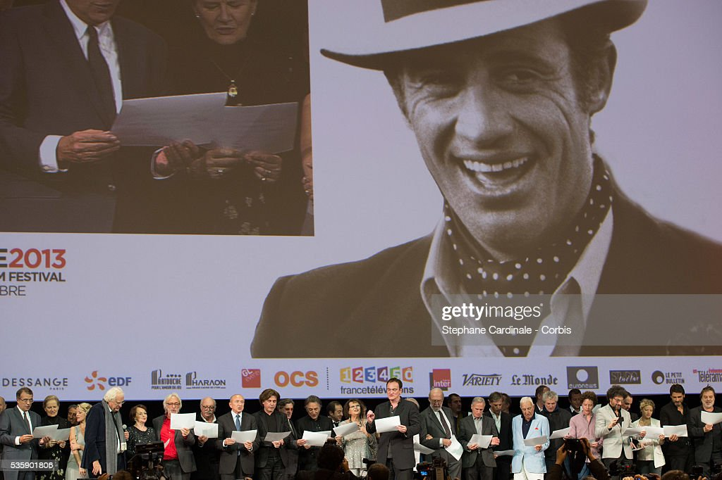 Dominique Sanda, Laure Marsac, Bertrand Tavernier, Francoise Arnoul, Pierre Richard, Jean Becker, Gerard Collomb, Jean Michel Jarre, Daniel Auteuil, Richard Berry, Patrick Timsit, Claudia Cardinale, Quentin Tarantino, Jean Pierre Marielle, Charles Gerard, Claude Lelouch, Radu Mihaileanu, Melanie Thierry and Pascal Elbe on stage during the Tribute to Jean Paul Belmondo and Opening Ceremony of the Fifth Lumiere Film Festival, in Lyon.