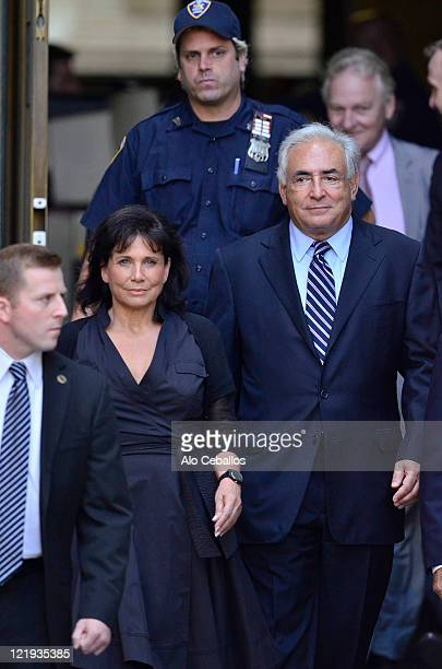 Dominique StraussKahn and Anne Sinclair leave Manhattan Criminal Court after a status hearing where the sexual assault charges against StraussKahn...