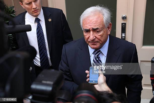 Dominique StraussKahn makes a statement after his status hearing at Manhattan Criminal Court having arrived back at his temporary residence in the...