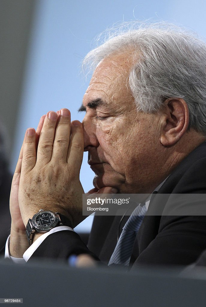 Dominique Strauss-Kahn, managing director of the International Monetary Fund (IMF), pauses during a news conference at the German federal chancellory in Berlin, Germany, on Wednesday, April 28, 2010. German Chancellor Angela Merkel and the IMF pledged to step up efforts to overcome the Greek fiscal crisis as Standard & Poor's downgraded Spain and investors sold bonds in Europe's most indebted nations. Photographer: Michele Tantussi/Bloomberg via Getty Images