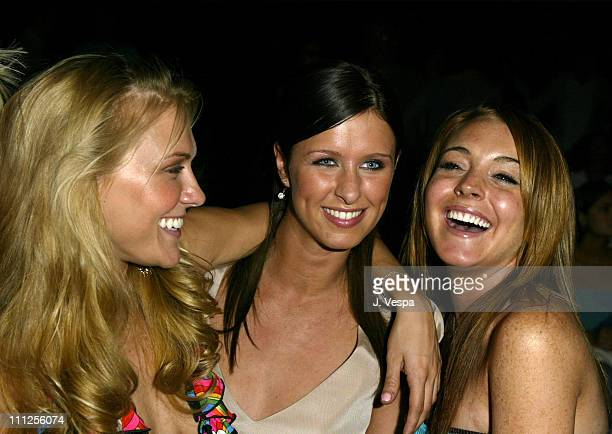 Dominique Swain Nicky Hilton and Lindsay Lohan during MercedesBenz Fall 2004 Fashion Week at Smashbox Studios Petro Zillia Backstage and Front Row at...