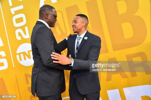 Dominique Wilkins and CJ McCollum chats on the red carpet during the 2017 NBA Awards Show on June 26 2017 at Basketball City in New York City NOTE TO...
