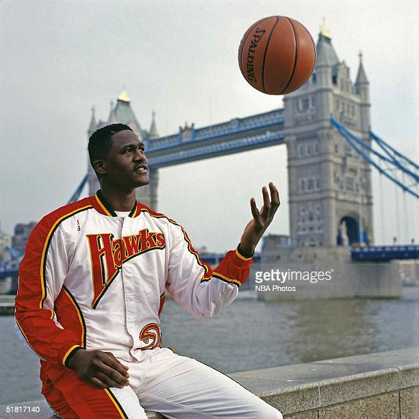 Dominique Wilkins of the Atlanta Hawks poses for a portriat during a photo shoot circa 1994 in London England NOTE TO USER User expressly...