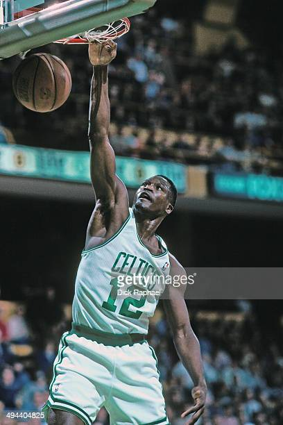 Dominique Wilkins of the Boston Celtics dunks the ball during a game played in 1995 at the Boston Garden in Boston Massachusetts NOTE TO USER User...