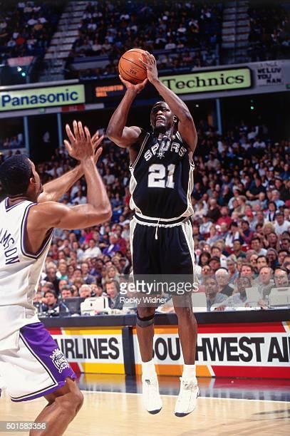 Dominique Wilkins of the San Antonio Spurs shoots against the Sacramento Kings circa 1997 at Arco Arena in Sacramento California NOTE TO USER User...