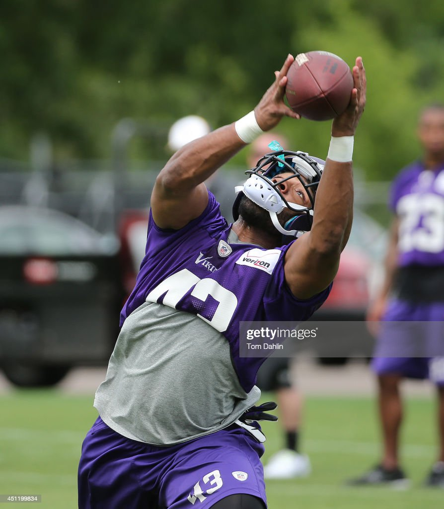 Dominique Williams #43 of the Minnesota Vikings works out during Minicamp sessions at the Winter Park training facility on June 18, 2014 in Eden Prairie, Minnesota.