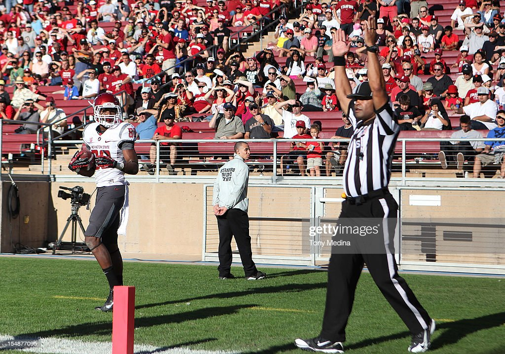 Dominique Williams #80 of the Washington State Cougars looks to the official for the call after making a reception for a touchdown in the second quarter giving the Washington State Cougars a 10-7 lead over the Stanford Cardinal at Stanford Stadium on October 27, 2012 in Palo Alto, California.