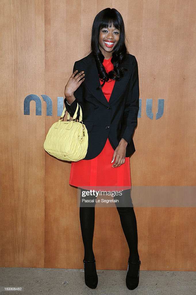 Dominique Young Unique attends the Miu Miu Spring/Summer 2013 show as part of Paris Fashion Week on October 3, 2012 in Paris, France.