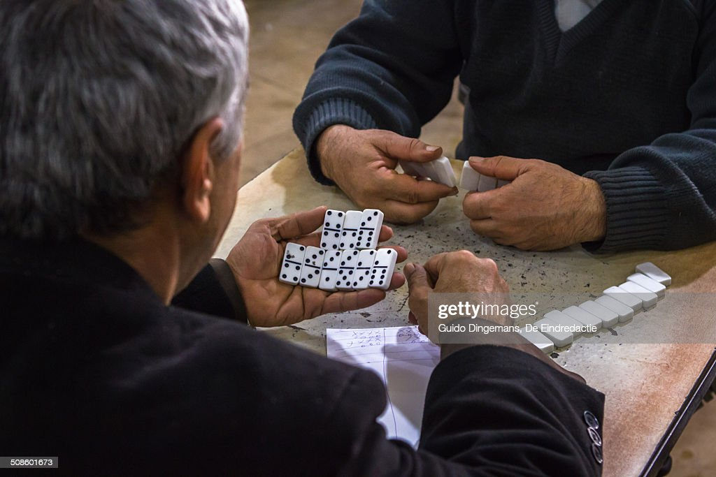 Domino at teahouse in Iraqi Kurdistan : Stock Photo