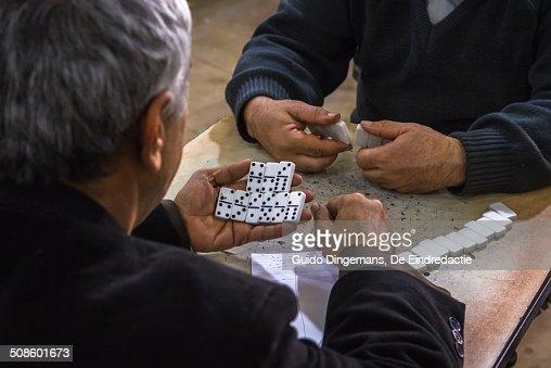Domino at teahouse in Iraqi Kurdistan : Stock Photo