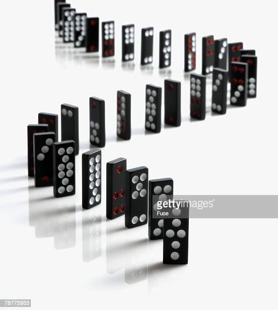Domino Pieces Arranged in a Line