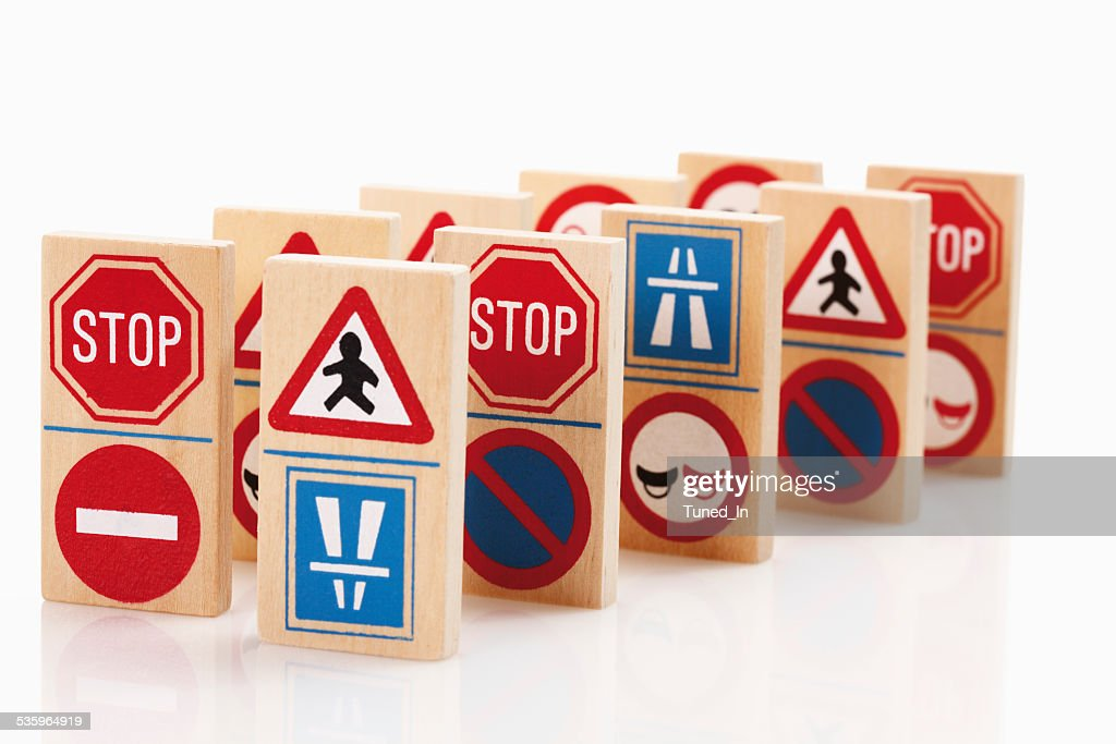 Domino with traffic signs on white background : Stock Photo