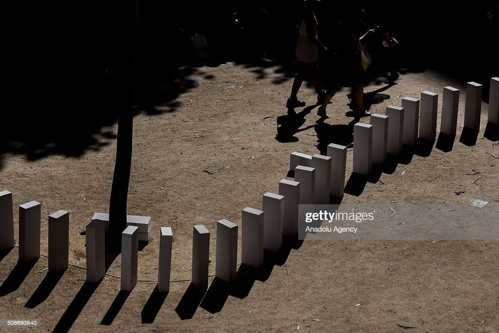 Dominoes set up in City Square during the Arts Centre Melbournes Dominoes arts project in Melbourne, Australia, on February 6, 2016. More than 7000 giant dominoes snaked through Melbourne city over 2km. Melbourne, Australia February 6 2016