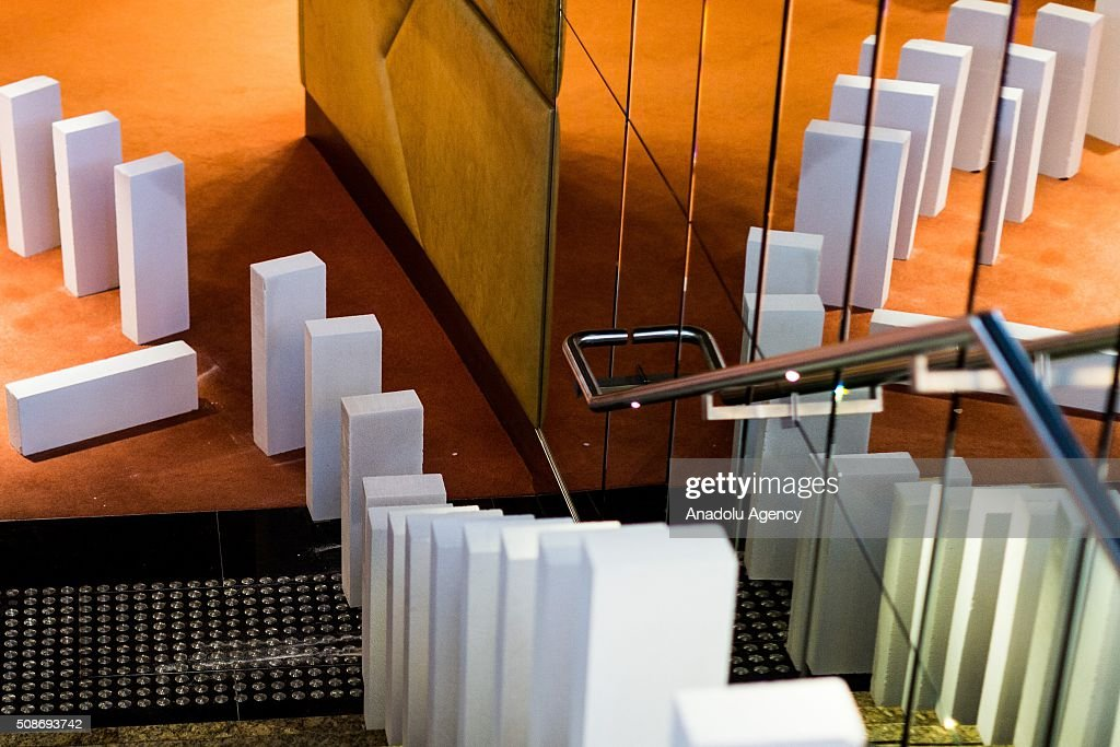 Dominoes set up inside the foyer of the Hamer All performing arts centre during the Arts Centre Melbournes Dominoes arts project in Melbourne, Australia February 6, 2016. More than 7000 giant dominoes snaked through Melbourne city over 2km.