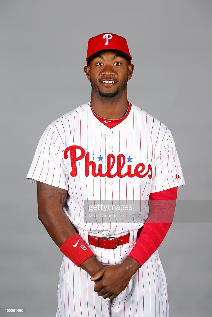 <a gi-track='captionPersonalityLinkClicked' href=/galleries/search?phrase=Domonic+Brown&family=editorial&specificpeople=6900643 ng-click='$event.stopPropagation()'>Domonic Brown</a> #9 of the Philadelphia Phillies poses during Photo Day on Friday, February 27, 2015 at Bright House Field in Clearwater, Florida.