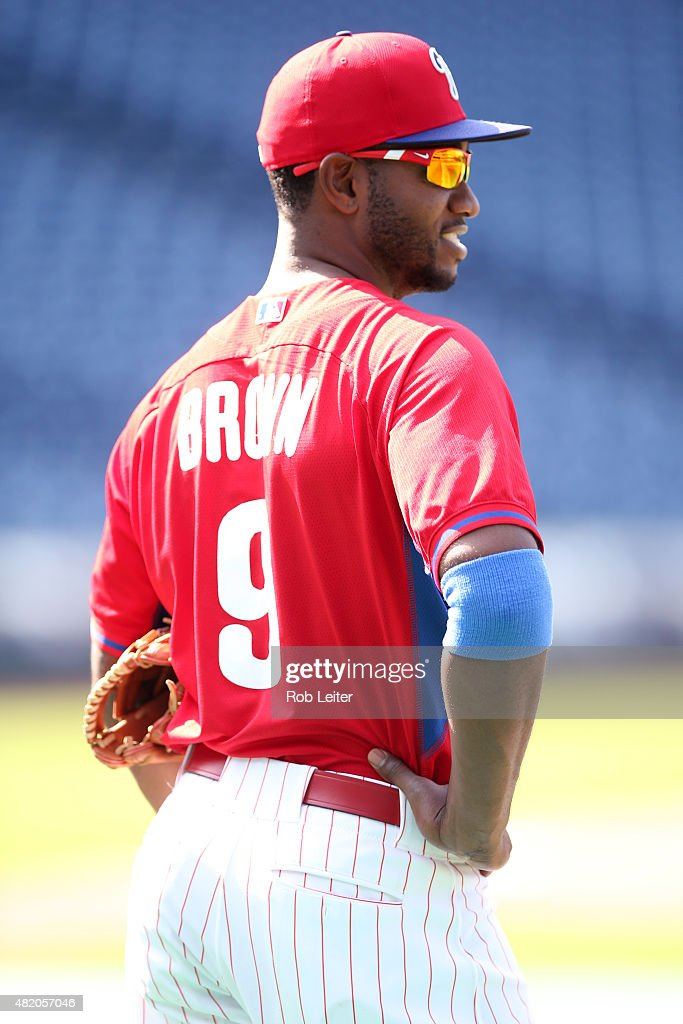<a gi-track='captionPersonalityLinkClicked' href=/galleries/search?phrase=Domonic+Brown&family=editorial&specificpeople=6900643 ng-click='$event.stopPropagation()'>Domonic Brown</a> #9 of the Philadelphia Phillies takes batting practice before the game against the Miami Marlins at Citizens Bank Park on July 17, 2015 in Philadelphia, PA. The Phillies defeated the Marlins 6-3.