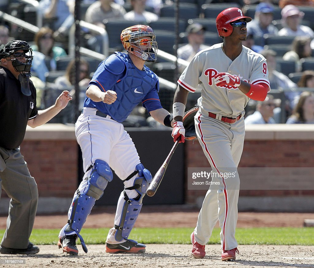 Domonic Brown #9 of the Philadelphia Phillies watches his three run home run in the fifth inning against the New York Mets at Citi Field on April 27, 2013 in the Flushing neighborhood of the Queens borough of New York City. (Photo by Jason Szenes/Getty Images