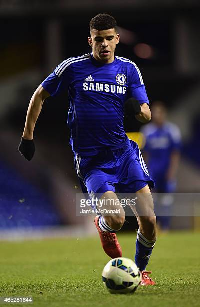 Domonic Solanke of Chelsea in action during the FA Youth Cup Semi Final first leg match between Tottenham Hotspur and Chelsea at White Hart Lane on...