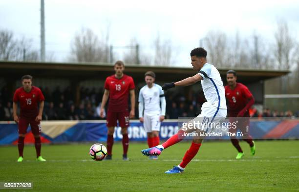 Domonik Solanke of England scores his sides first goal from the penalty spot during the UEFA U20 International Friendly match between England and...