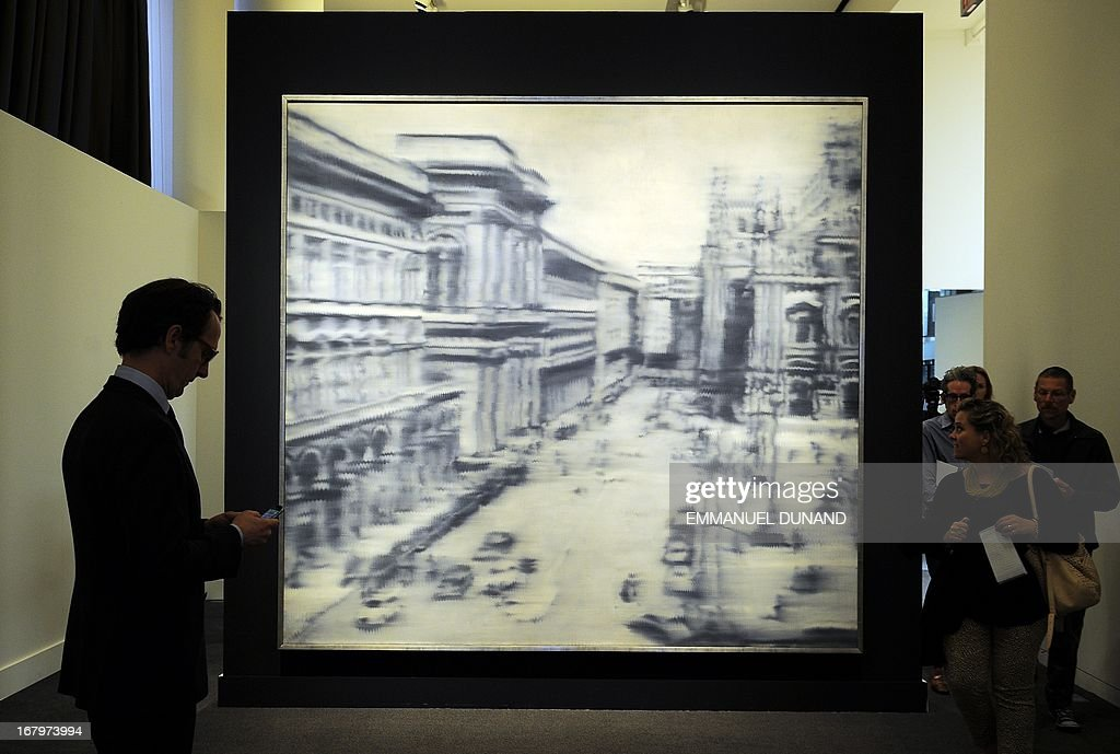 'Domplatz, Mainland' by Gerhard Richter is on display during a preview of Sotheby's Impressionist and Modern Art sales in New York on May 3, 2013. Sotheby's is scheduled to hold its Impressionist and Modern Art sales May 7. AFP PHOTO/Emmanuel Dunand ++RESTRICTED