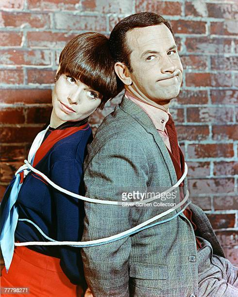 Don Adams as Maxwell Smart/Agent 86 and Barbara Feldon as Agent 99 in the television series 'Get Smart' circa 1965