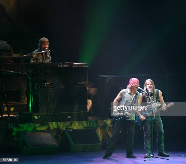 Don Airey Roger Glover Steve Morse of the band Deep Purple perform on stage as part of the British rock tripleheadline UK concert series' London stop...