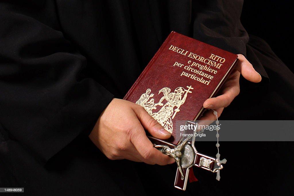 Don Aldo Buonaiuto holds the necessary for his exorcisms on January 12 2012 in Rome Italy Father Aldo Bonaiuto one of the Vatican's team of...