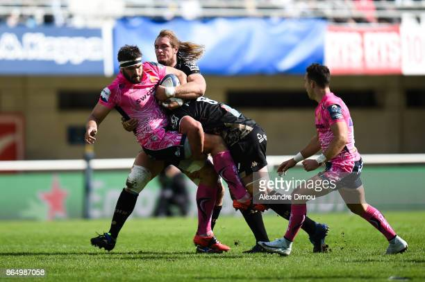Don Armand of Exeter and Jacques Du Plessis of Montpellier during the European Champions Cup match between Montpellier and Exeter Chiefs on October...