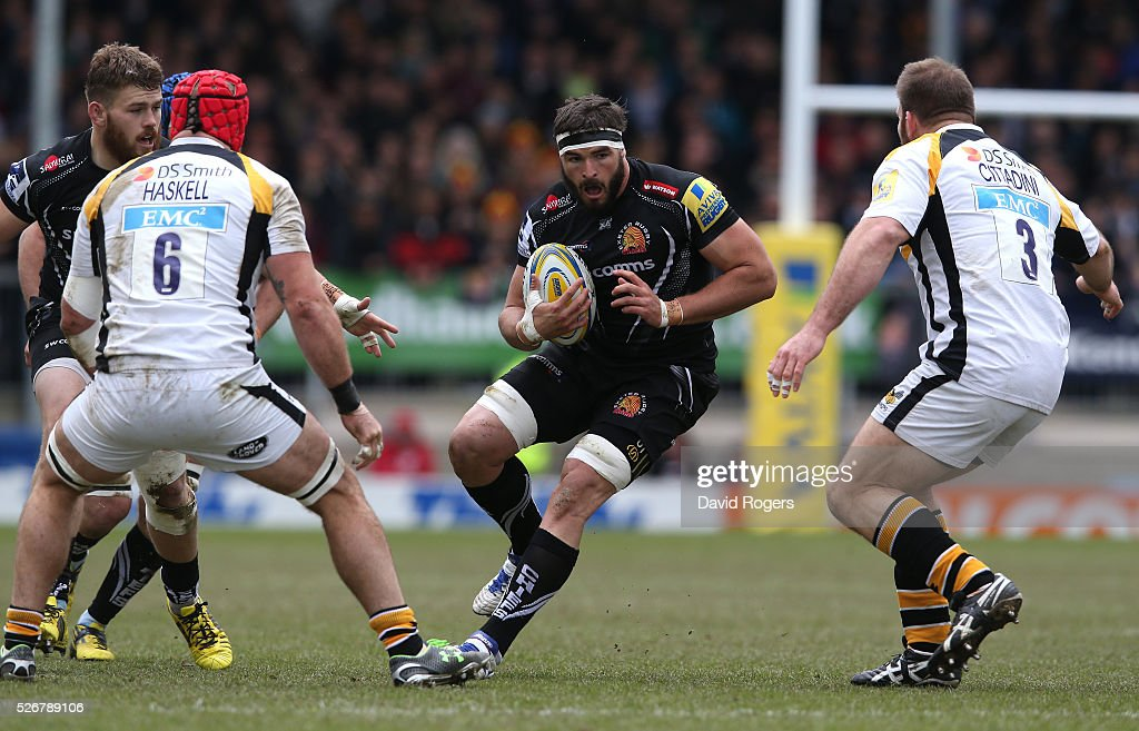 Don Armand of Exeter charges upfield during the Aviva Premiership match between Exeter Chiefs and Wasps at Sandy Park on May 1, 2016 in Exeter, England.