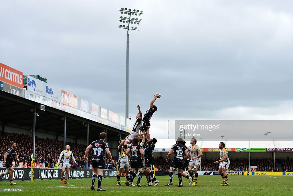 Don Armand of Exeter Chiefs rises to claim the lineout during the Aviva Premiership match between Exeter Chiefs and Wasps at Sandy Park on May 01, 2016 in Exeter, England.