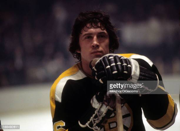 Don Awrey of the Boston Bruins looks on during an NHL game against the New York Rangers circa 1972 at the Madison Square Garden in New York New York