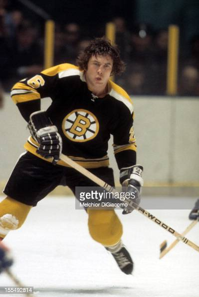 Don Awrey of the Boston Bruins skates on the ice during an NHL game against the New York Rangers circa 1972 at the Madison Square Garden in New York...
