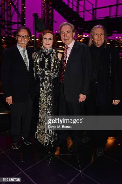 Don Black Glenn Close Lord Andrew Lloyd Webber and Christopher Hampton pose backstage at the press night performance of 'Sunset Boulevard' at The...